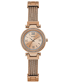 GUESS Women's Rose Gold-Tone Stainless Steel Bracelet Watch 27mm