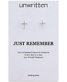 Unwritten Cubic Zirconia Cross Stud Earrings in Sterling Silver