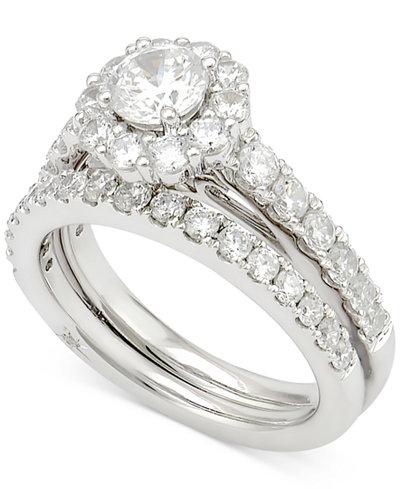 Marchesa Certified Diamond Bridal Set 2 Ct Tw In 18k Gold White