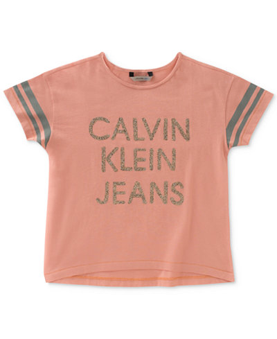 Calvin Klein Glitter-Logo Cotton T-Shirt, Big Girls