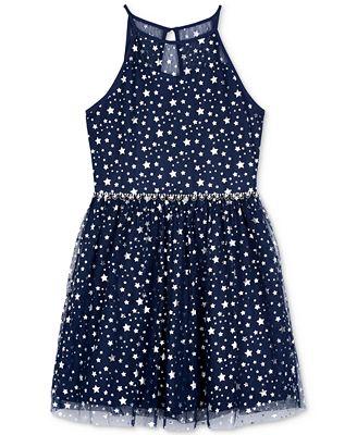 BCX Star-Print Fit & Flare Dress, Big Girls