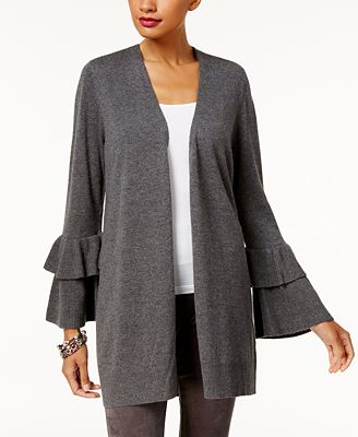 Anna Sui Loves INC International Concepts Ruffled-Sleeve Cardigan, Created for Macy's
