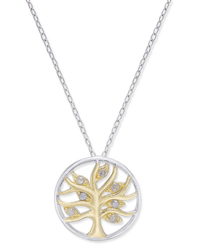 Diamond two tone tree of life pendant necklace 110 ct tw in diamond two tone tree of life pendant necklace 110 ct tw mozeypictures Gallery
