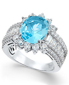 Simulated Blue Topaz and Cubic Zirconia Ring in Sterling Silver