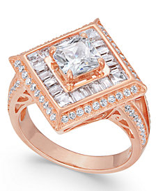 Cubic Zirconia Geometric Ring in 14k Rose Gold-Plated Sterling Silver