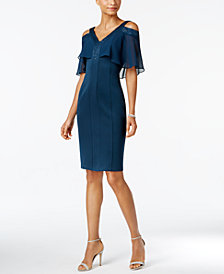 SL Fashions Cold-Shoulder Embellished Sheath Dress