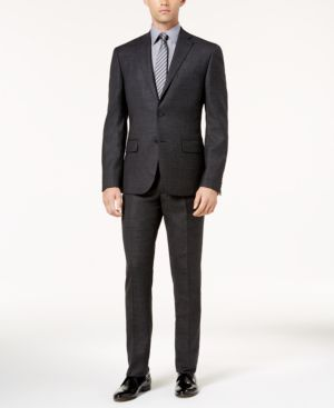 Dkny Men's Slim-Fit Black and Gray Mini Check Wool Suit thumbnail