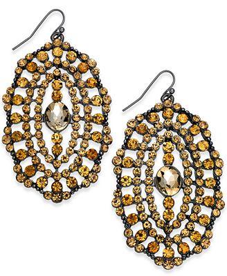 Thalia Sodi Hematite-Tone Crystal Orbital Drop Earrings, Created for Macy's