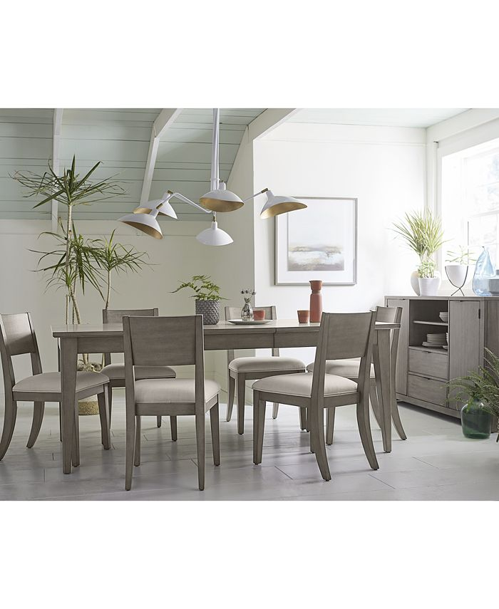 Furniture - Tribeca Grey Expandable Dining , 7-Pc. Set (Dining Table & 6 Side Chairs), Created for Macy's