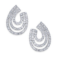 INC International Concepts Silver-Tone Crystal Multi-Hoop Drop Earrings