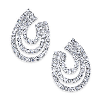 INC International Silver-Tone Crystal Multi-Hoop Drop Earrings