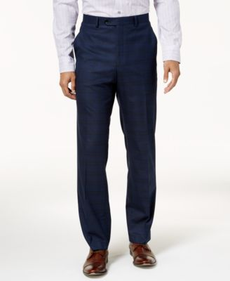 Men's Traveler Slim-Fit Stretch Navy Checkered Pants, Created for Macy's