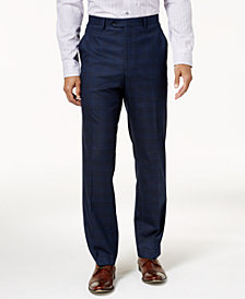 Alfani Men's Traveler Slim-Fit Stretch Navy Checkered Pants, Created for Macy's