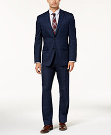 Alfani Men's Traveler Slim-Fit Navy Checkered Suit Separates, Created for Macy's