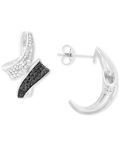 Diamond Curved Bypass Drop Earrings (1/4 ct. t.w.) in Sterling Silver