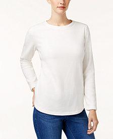 Karen Scott Petite Microfleece Crew-Neck Sweatshirt, Created for Macy's