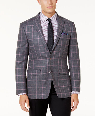 Tallia Men's Slim-Fit Orange Grey and Pink Windowpane Sport Coat ...