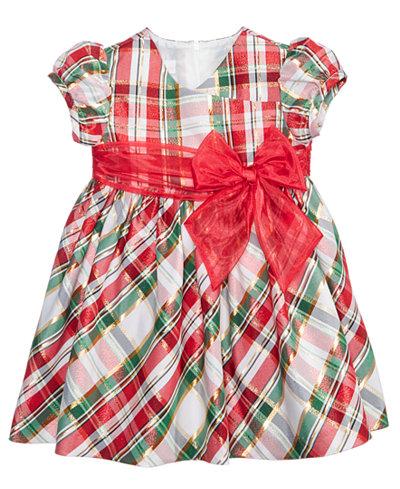 Bonnie Baby Plaid Taffeta Dress, Baby Girls
