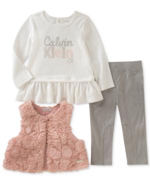 Calvin Klein 3Pc FauxFur Vest Top  Pants Set Baby Girls (024 months)