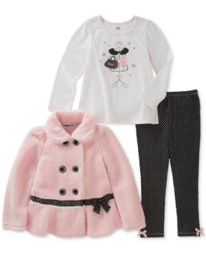 Kids Headquarters 3Pc FauxFur Jacket Printed TShirt  DotPrint Leggings Set Baby Girls (024 months)