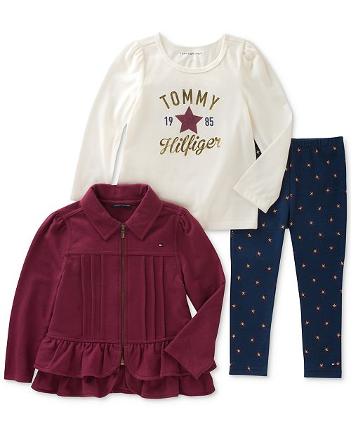 04f255cd Tommy Hilfiger Tommy Girl 3-Pc. Jacket, Graphic T-Shirt & Leggings ...