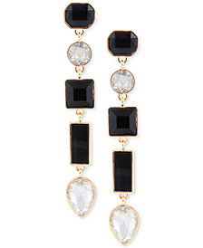 GUESS Gold-Tone Clear & Jet Crystal Linear Drop Earrings