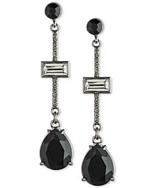 Carolee Hematite-Tone Stone & Pavé Linear Drop Earrings