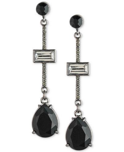 Carolee Hematite-Tone Stone & Pavé Linear Drop Earrings