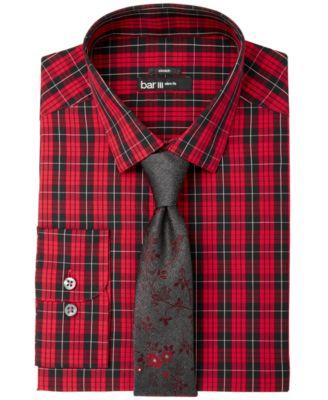 Men's Slim-Fit Stretch Easy-Care Red Black Macleod Dress Tartan Dress Shirt, Created for Macy's