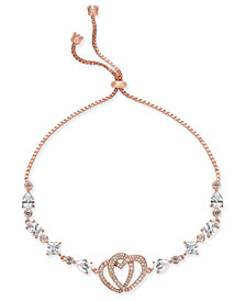 Joan Boyce Rose Gold-Tone Crystal Double Heart Slider Bracelet