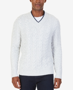 Men's Vintage Style Sweaters – 1920s to 1960s Nautica Mens V-Neck Cable-Knit Sweater $50.93 AT vintagedancer.com