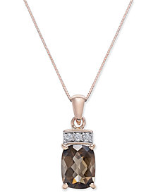 Smoky Quartz (1-9/10 ct. t.w.) & Diamond Accent Pendant Necklace in 14k Rose Gold