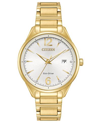 Citizen Eco-Drive Women's Gold-Tone Stainless Steel Bracelet Watch 36mm