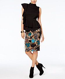 Thalia Sodi Mock-Neck Peplum Top & Pencil Skirt, Created for Macy's