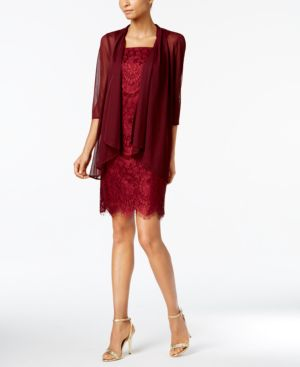 R & M Richards Petite Lace Dress and Draped Jacket 4442939