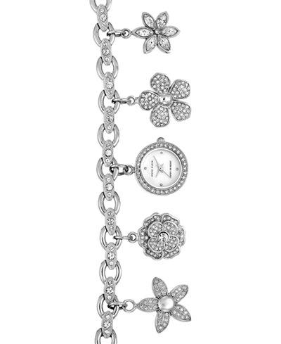 Anne Klein Women's Silver-Tone Charm Bracelet Watch 19mm