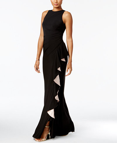 B & A by Betsy & Adam Contrast-Ruffle Gown