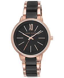 Anne Klein Women's Rose Gold-Tone and Black Bracelet Watch 37mm