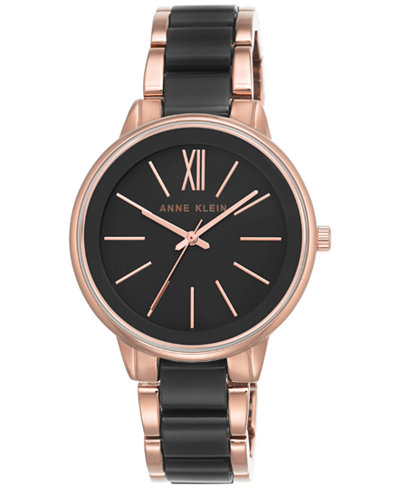 Anne Klein Women's Rose Gold-Tone and Black Bracelet Watch 37mm