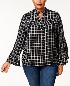 I.N.C. Plus Size Plaid Ruffled Shirt, Created for Macy's