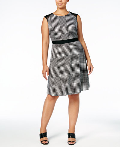 Calvin Klein Plus Size Houndstooth Mesh-Trimmed Fit & Flare Dress