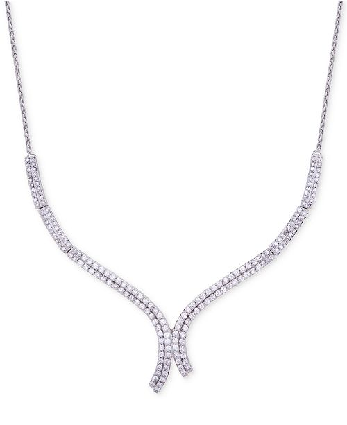 Wrapped in Love Diamond Curve Statement Necklace (1-1/2 ct. t.w.) in 14k White Gold, Created for Macy's