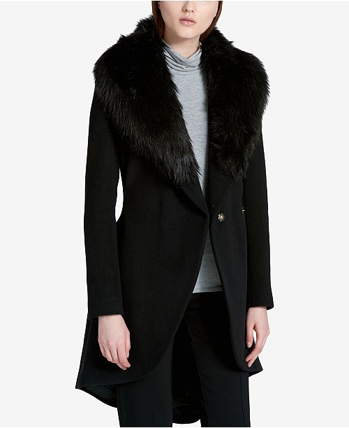 16ea207b4 Calvin Klein Faux-Fur-Trim High-Low Walker Coat & Reviews - Coats ...