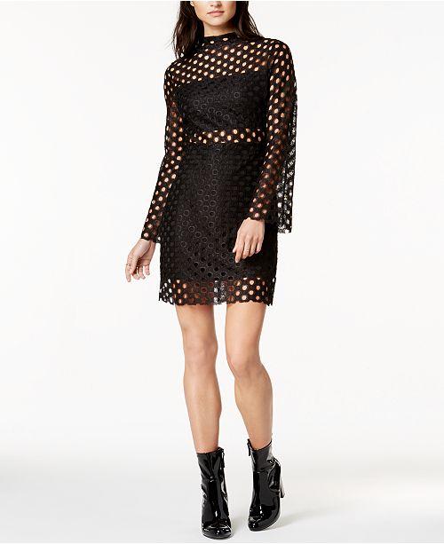 Twiin Mock-Neck Lace Illusion Dress