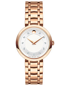 Movado Women's Swiss 1881 Quartz Diamond-Accent Rose Gold-Tone PVD Stainless Steel Bracelet Watch 28mm