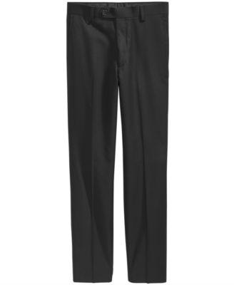 Solid Black Suiting Pants, Big Boys Husky