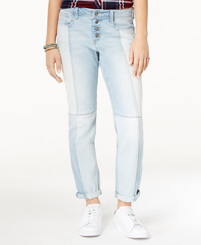 Black Daisy Juniors' Jamie Two-Tone Relaxed Fit Girlfriend Jeans