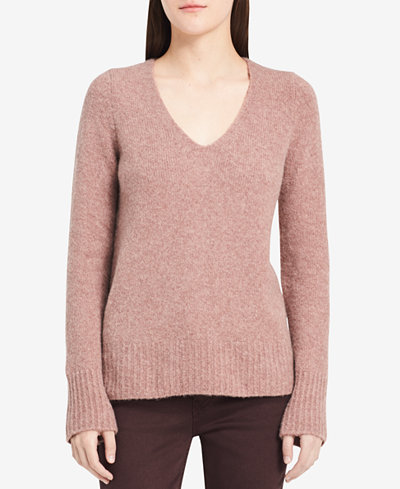 Calvin Klein Jeans V-Neck Long-Sleeve Sweater - Sweaters - Women ...