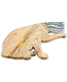 Thirstystone Cat Wood & Marble Serving Board