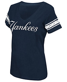 G-III Sports Women's New York Yankees First Pick Sleeve Stripe T-Shirt
